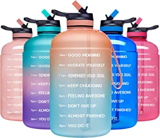 ADOLPH Large Half Gallon Motivational Water Bottle with 2 Lids (Chug and Straw),..