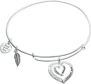 Sterling Silver Mother Daughter Forever Love Heart Leaf Dangle Charm Adjustable Wire Bangle Bracelet