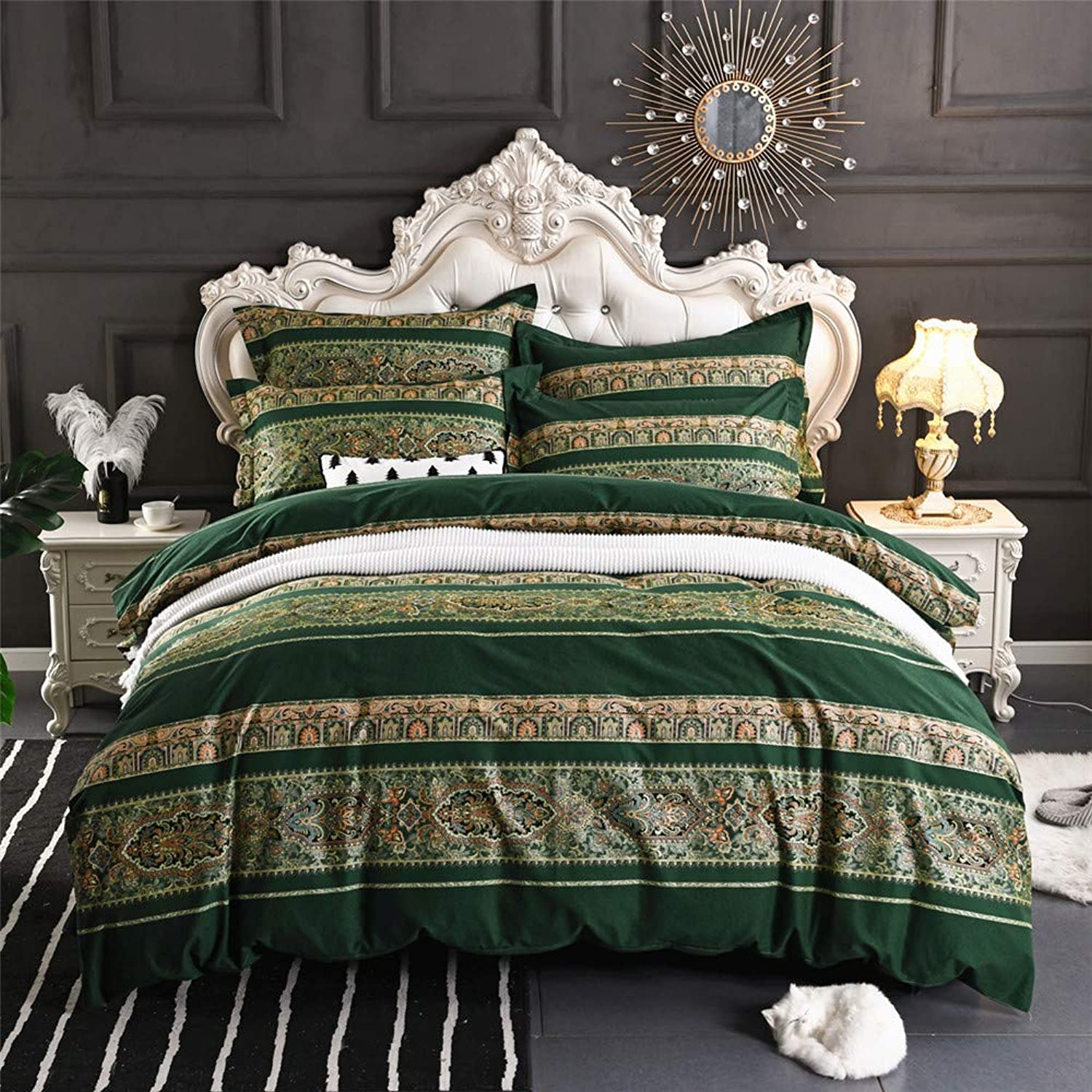 Abreeze 3Pcs colorful Boho Bedding Set Bohemian Duvet Covers Queen Size
