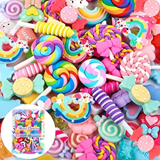 Holicolor 120pcs Slime Charms Cute Set Mixed Assorted Candy Sweets Resin Flatback Slime Beads Making Supplies for DIY Craft Making and Ornament Scrapbooking