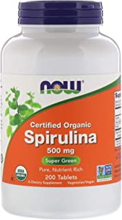 NOW Foods Organic Spirulina, Super Green, 500mg, 200 Tablets