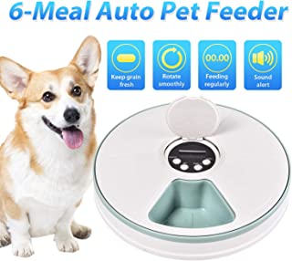 EliPark Automatic Cat Feeder Timed Food Dispenser for Dogs, Cats & Small Animals Digital Pet Feeder Distribution Alarms, Programmed Timed Self 6 Meal Trays Dry Wet, Digital Clock,Portion Control
