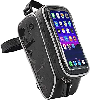 Questionno Bike Frame Bag Waterproof Bike Handlebar Bag Top Tube Cycling Pannier Bag Mobile Phone Screen Touch Holder Fits Phones Below 7 Inches