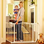 North States 72  Wide Deluxe Décor Baby Gate: Provides safety in extra-wide spaces with added one-hand functionality. Hardware mount. Fits 38.3 -72  wide (30  tall, Soft White)