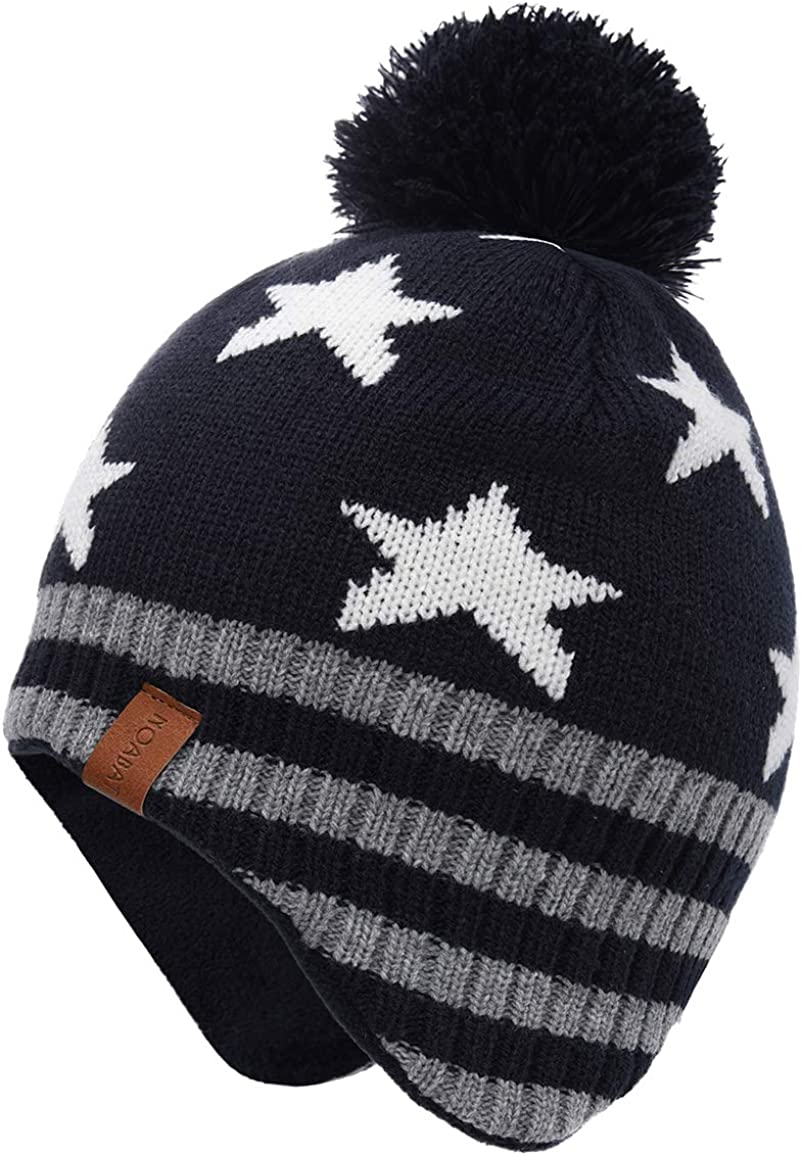 ERISO Baby Toddler Knitted Hats - Winter Fleece Skiing Caps with Warm Earflap for Kids Boys Girls