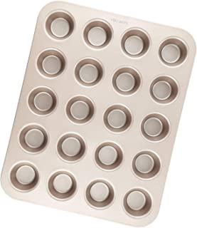 CHEFMADE Mini Muffin Pan, 20-Cavity Non-Stick Tiny Cupcake Pan Bakeware, FDA Approved for Oven Baking (Champagne Gold)