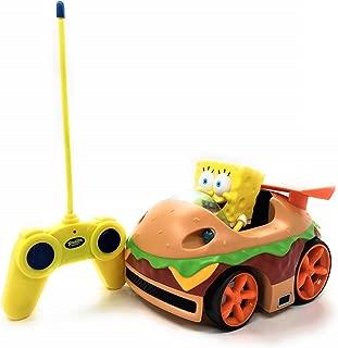 Nickelodeon Spongebob Squarepants RC Car Krabby Patty Hamburger Style Ready To Run Action Figure w/LED Lights, Kids Electric Remote Control Car