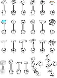 Hicarer 24 Piezas 16G Pendientes de botón de Acero Inoxidable Pendiente de Oreja de joyería Conjunto de aretes de cartílag...