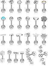 24 piezas 16G Pendientes de botón de acero inoxidable Pendiente de oreja de joyería Conjunto de aretes de cartílago para mujeres niñas Favors