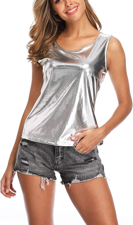 Camiseta Manga Corta Mujer Camisa Blusa Brillante Metálico Sexy Tops