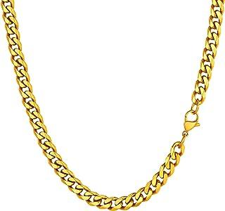 U7 Cha/îne Collier pour Homme Femme Rolo Chain en Forme de O 4mm//6mm//12mm de Large Bijoux en Acier Inoxydable//Plaqu/é Or//Noir Longueur 46cm//51cm//55cm//61cm//66cm//71cm//76cm