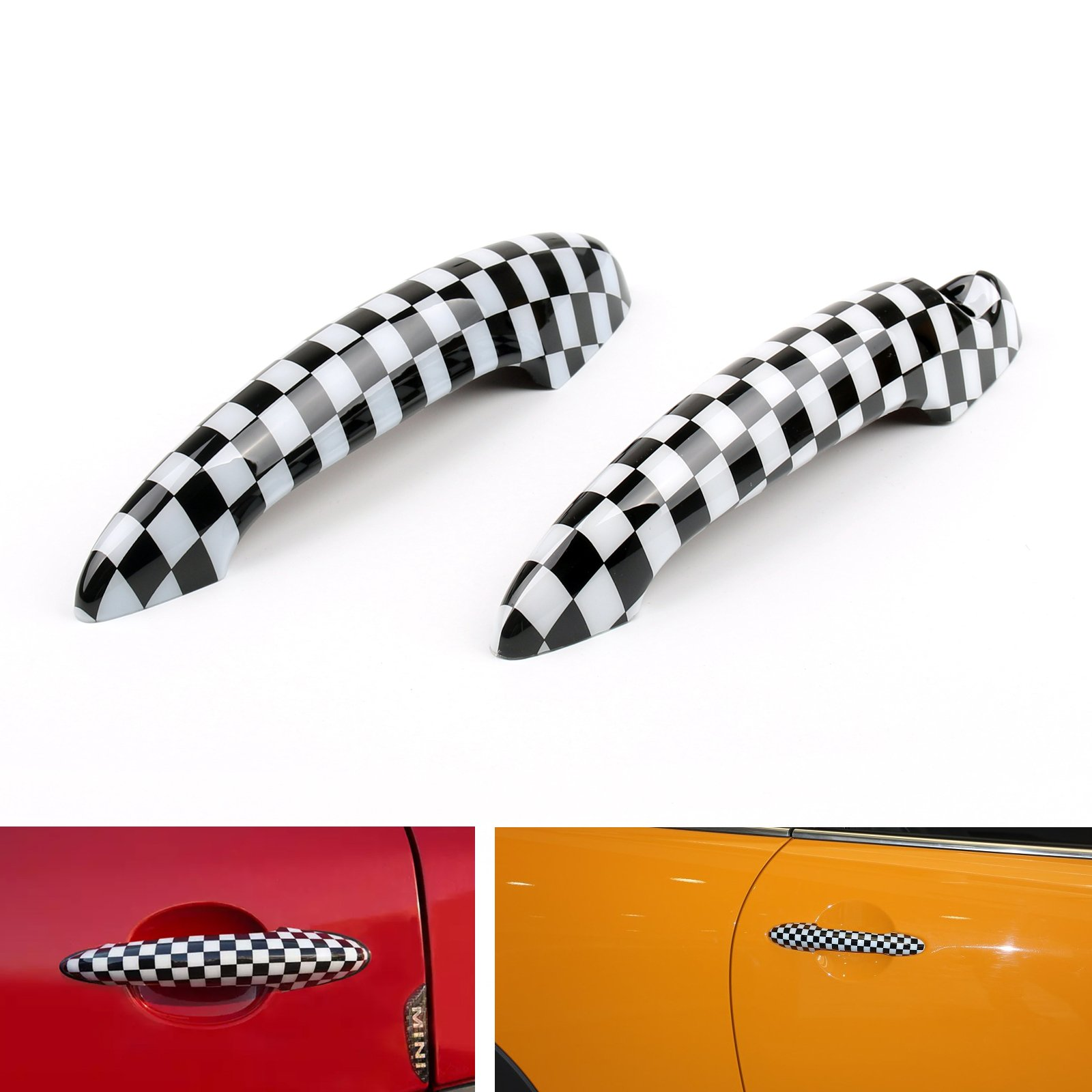 Areyourshop Union Jack UK Flag Checkered Door Handle Cover For Mini Cooper R50 R52 R53 R55