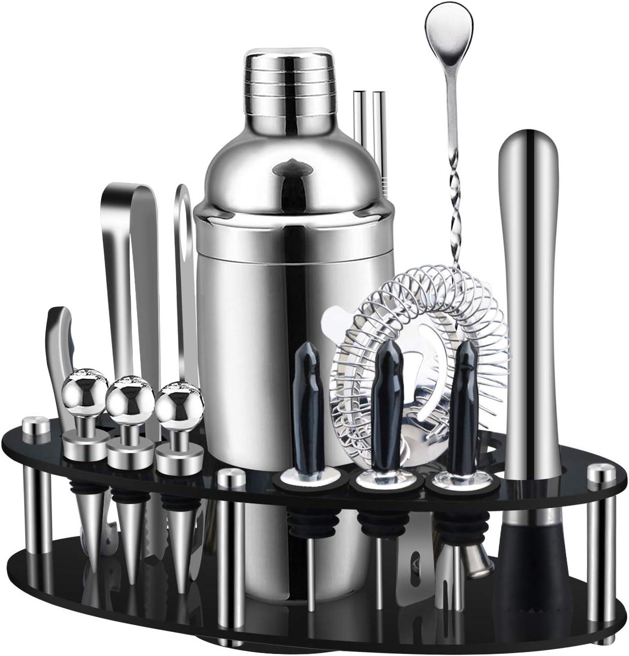 Choix de Cadeau Parfait Kit de Barman SS304 Premium pour La Maison F/ête Ensemble de Fabrication de Cocktails 19 Pi/èces Avec Pr/ésentoir Rotatif Ovale Shaker Cocktail Bar