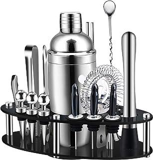 X-cosrack Shaker Cocktail, Ensemble de Fabrication de Cocktails 19 Pièces avec Présentoir Rotatif Ovale, Kit de Barman SS3...