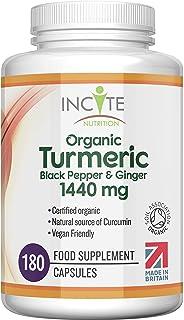 Organic Turmeric Curcumin 1440mg - 180 Premium Vegan Capsules - High Strength Quality Organic Turmeric Curcumin with Organ...