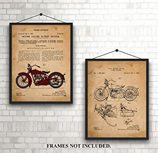 Harley Davidson - Pair of Classic - Patent Prints - 1928 - Unique Art Prints for Harley Fan - Man Cave - Den - Office - Gifts for Dad