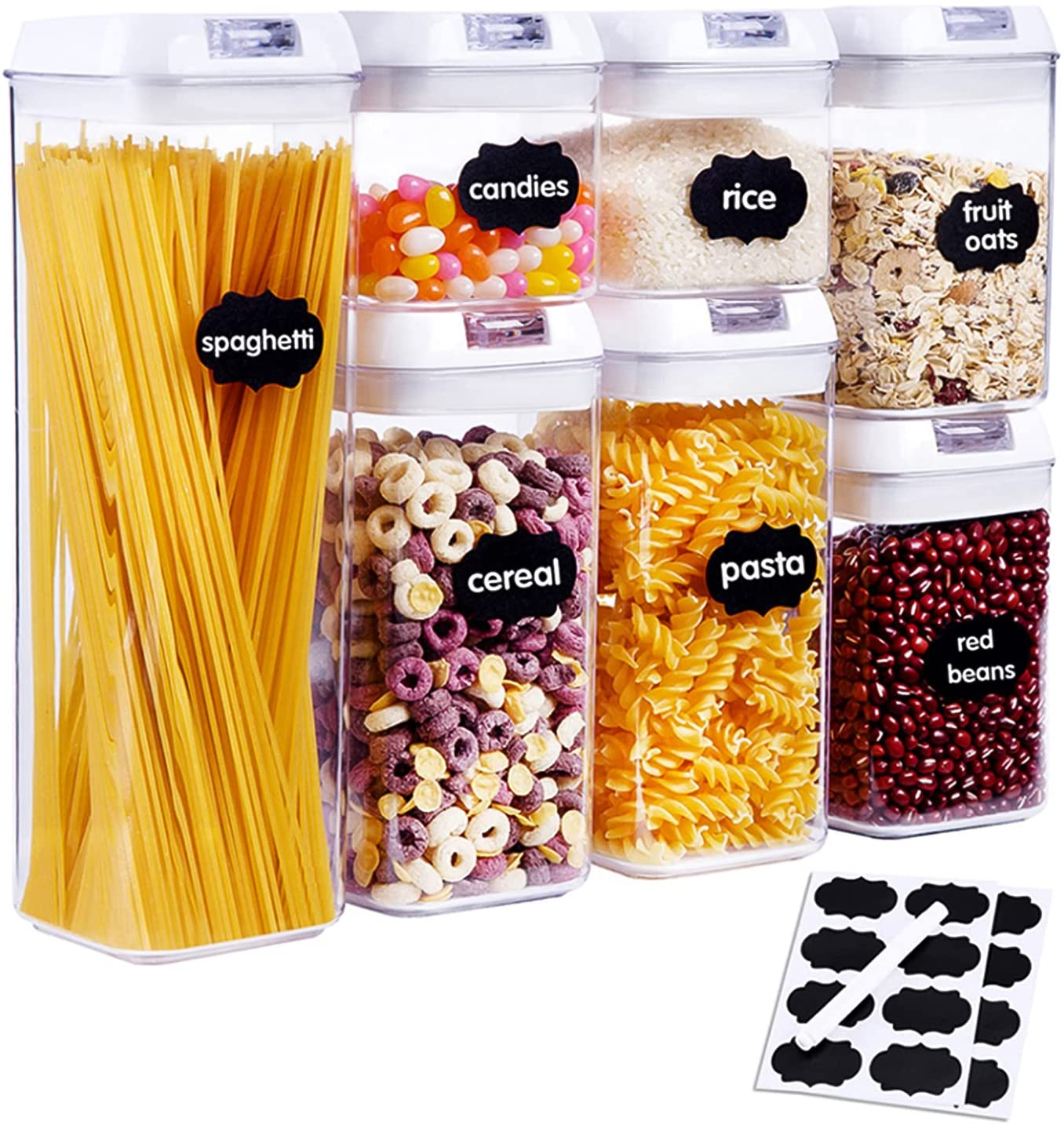 KITCHEN HERO 7 Pieces Airtight Food Storage Containers for Food | BPA Free Cereal & Dry Food Storage Containers with Lids | Cereal Storage Containers Airtight | Pantry Organization Canisters