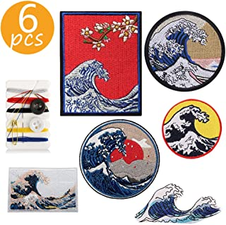 HAHII Great Wave Off Kanagawa Patches,Iron-on/Sew-on Embroidery Patch for Backpacks,Clear Pattern & Assorted Styles,6 Pcs Applique/Decorative/Repair Patches for Clothes Jeans Jacket Cap (Wave / 6 pcs)