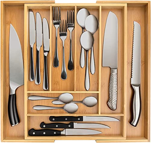 2021 Secura Bamboo Expandable Drawer Organizer, Silverware Utensil Holder new arrival and Cutlery Tray for new arrival Kitchen, Office, Bathroom and Home (8 Expandable Compartments) online