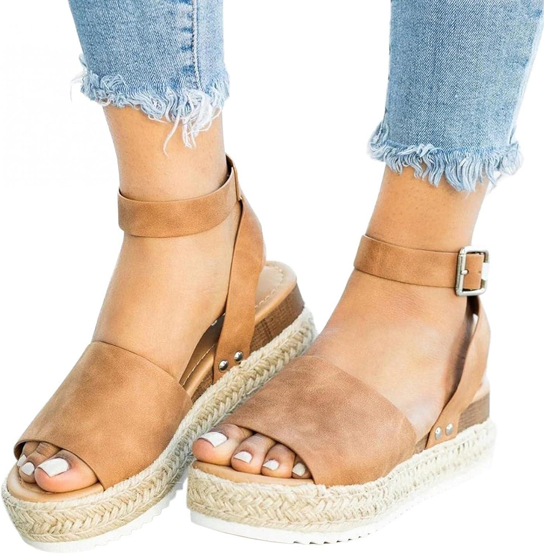 AIHOU Sandals for Women Casual Summer Floral Lace-up Platform We