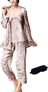 IDORIC Women/Men Pajama Sets 3pcs Silk Sleepwear Sets Cami Nightwear PJS Set with Matching Eye Mask Gift