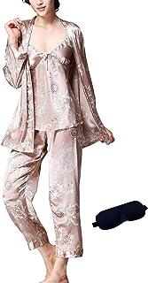 طقم بيجامة حريمي / رجال من IDORIC 3 قطع مجموعات ملابس نوم حريرية كامي بيجامة مجموعة مع مطابقة قناع العين هدية
