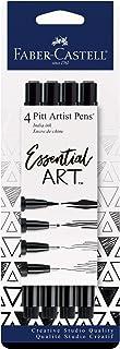 Faber-Castell FC770075 Pitt Artist Pens Essential Set - 4 Black Markers, Variety of Nibs