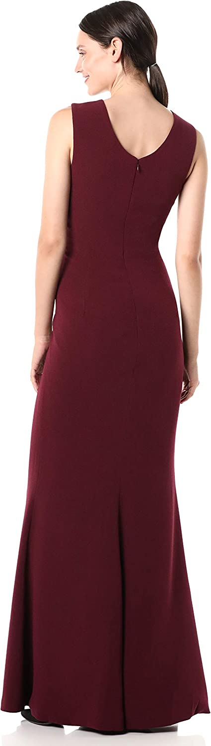 Dress the Population Women's Sandra Plunging Thick Strap Solid Gown with Slit Dress, Burgundy, XX-Small