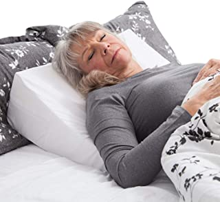DMI Wedge Pillow to Support and Elevate Neck, Head and Back for Acid Reflux or Feet and Legs to Reduce Back Pain and Impro,, ve Circulation with Removable Cover, 7x24x24 Inch, White