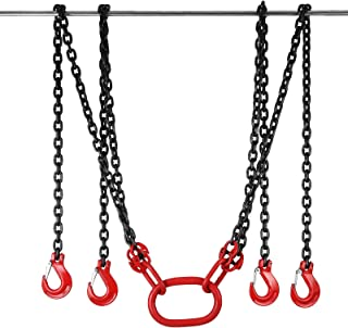OrangeA 13FT Sling Chain 9/32 Inch x 13FT Steel Lifting Hooks 10000LBS Chain Hoist Double Leg with Sling Hooks and Adjusters (9/32 Inch x 13FT)