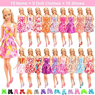 Barwa 12 Clothes Dresses + 10 PCS Shoes Selected Randomly for 11.5 Inch 28 - 30 cm Dolls