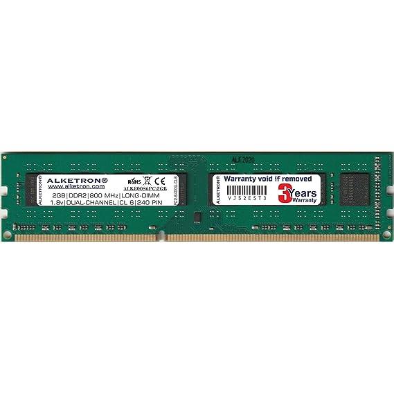 Alketron DDR2 2GB RAM for Desktop PC | 2GB 800MHz Long-DIMM CL-6