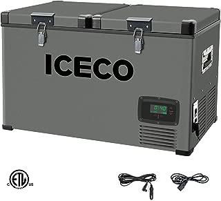 ICECO VL60 Portable Refrigerator Fridge Freezer Car Refrigerator with SECOP Compressor, 63 Quarts/60 Liters Platinum Compact Refrigerator, DC 12/24V, AC 110-240V, 0℉ to 50℉, Home & Car Use, for RV, Truck, Boat, Van