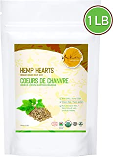 Yakee Organic Hemp Hearts 1lbs, Hulled Raw Hemp Seeds for Salad, Smoothies, Yogurt, NON GMO and Vegan Friendly, Contains Proteins, Antioxidants, Omega 3 and 6