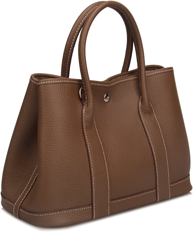 Qidell Women's Genuine Leather Tote Bag Top Handle Handbags Shoulder Handbags