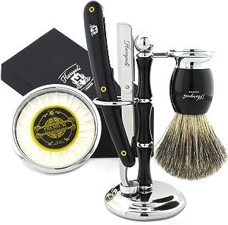 5 szt. męski zestaw do golenia cięcia golarki do golenia gardła, czarna szczotka do włosów borsuka, miska, stojak, mydło i...
