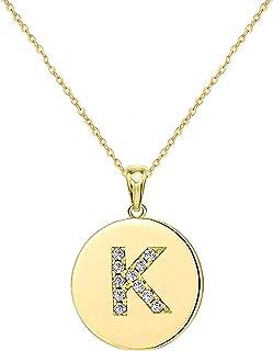 Nanafast Cubic Zirconia Initial Necklace for Women & Teen Girls Dainty CZ Setting Round Disc Coin Alphabet 26 Capital Lett...