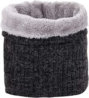 CRUOXIBB Winter Double-Layer Neck Warmer Soft Fleece Lined Thick Knit Circle Loop Scarf for Men Women