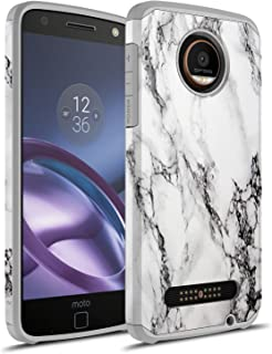 Moto Z2 Force Case, Moto Z force (2nd Gen.) Case, Rosebono Hybrid Dual Layer Shockproof Hard Cover Graphic Fashion Cute Colorful Silicone Skin Case for Moto Z2 Force - White Marble
