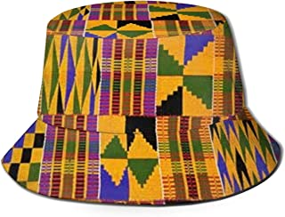 Ghana Kente Cloth Bucket Hat Unisex Sun Hat Fisherman Packable Trave Cap Fashion Outdoor Hat