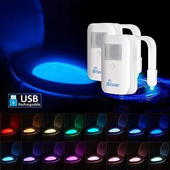 2 unidades de luz nocturna para inodoro recargable de 16 colores, sensor de movimiento, luz LED para cuenco, novedoso y divertido regalo de cumpleaños, ideal para adultos, niños, padres, niños, madres, por Witshine