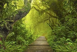 YongFoto 3x2m Vinilo Fondo de fotografía Ver Bosque Verde Selvas Grandes árboles Viejos Camino de Madera Estrecho Telón de Fondo de Fotografía Estudio de Foto Studio Props