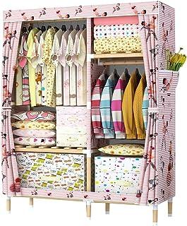Liuyu Armoire à vêtements portable pour chambre à coucher, en bois massif, multifonction, armoire de rangement pour vêtements