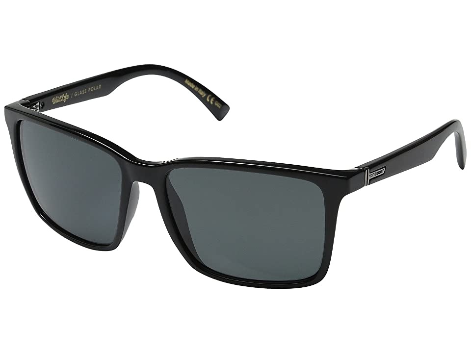 VonZipper Lesmore Polarized (Black Gloss/Grey Wildlife Glass Polar) Sport Sunglasses
