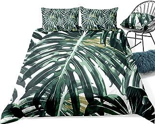 Green Palm Tree Bedding Tropical Duvet Cover Set Green Leaf Printed Design Dark Green Leaf Bedding Sets King (104