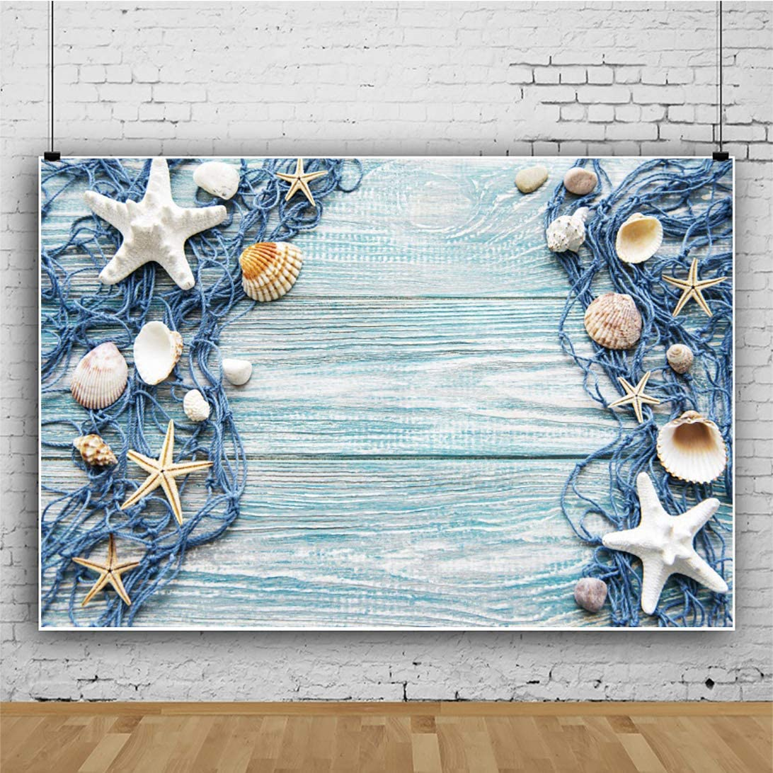 DORCEV 12x10ft Nautical Style Backdrop for Photography Light Blue Wooden Floor Deck Background Shell Starfish Sailor Kids Birthday Party Cake Table Banner Decor Photo Studio Props Wallpaper