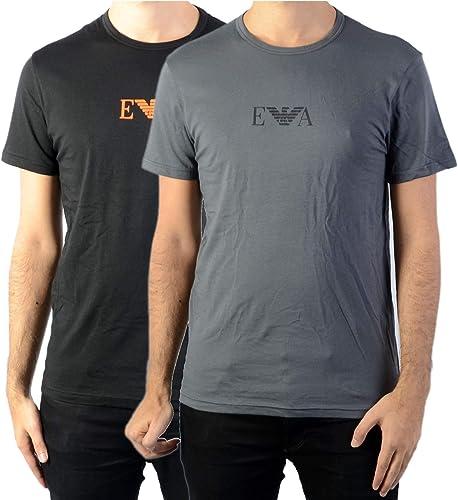 Emporio Arhommei Lot de 2 t-Shirts, col Rond, Demi Manches, Bleu uni Noir gris    Medium