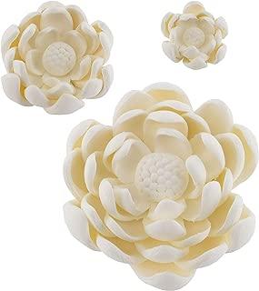 Global Sugar Art Lotus Blossom Sugar Cake Flowers Assortment, White, 3 Count by Chef Alan Tetreault