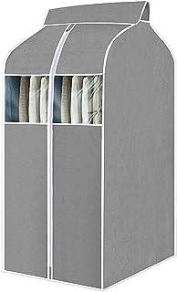 BANGSUN Housse de vêtements pour penderie sac de rangement suspendu vêtements avec fenêtres transparentes en PVC gris
