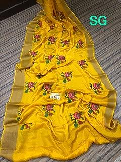 Fashion Vibes Pure Mysore Silk Wrinkle Crepe Saree with Kashmiri Embroidery